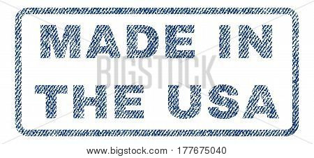 Made In The USA text textile seal stamp watermark. Blue jeans fabric vectorized texture. Vector tag inside rounded rectangular banner. Rubber emblem with fiber textile structure.