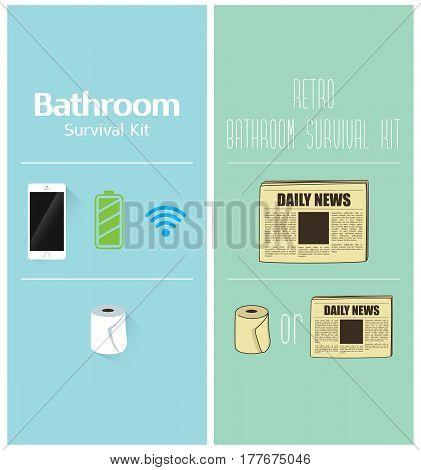 Retro Vintage Flat Design Bathroom Survival Kit Hygienic Paper Newspaper