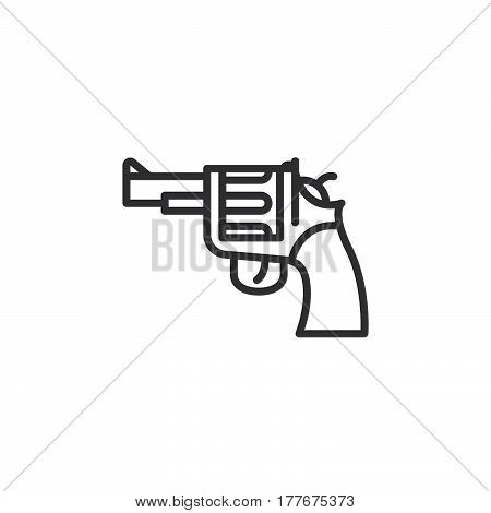 Gun revolver line icon outline vector sign linear pictogram isolated on white. Symbol logo illustration