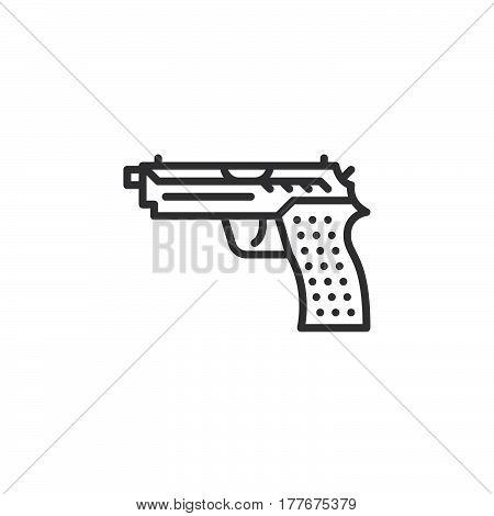 Gun pistol line icon outline vector sign linear pictogram isolated on white. Symbol logo illustration