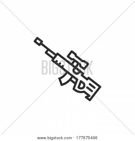 Sniper rifle line icon outline vector sign linear pictogram isolated on white. Symbol logo illustration