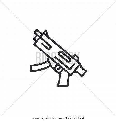 Submachine gun line icon outline vector sign linear pictogram isolated on white. Symbol logo illustration