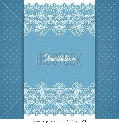 Greeting card or invitation template in retro style with lace border and polka dot background. Vector Illustration