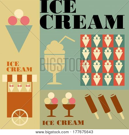 cold delicious dessert brown yellow vector symbol cup template vanilla cone summer chocolate old ice icon illustration retro cool creamy design cream set sundae menu vintage background fresh grunge turquoise waffle frozen food product syrup sweet treat se