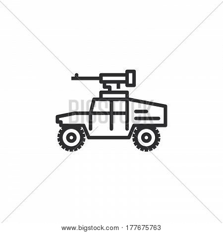 Vehicle mounted machine gun line icon outline vector sign linear pictogram isolated on white. Symbol logo illustration