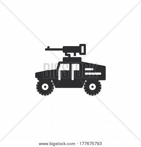 Vehicle mounted machine gun icon vector filled flat sign solid pictogram isolated on white. Symbol logo illustration