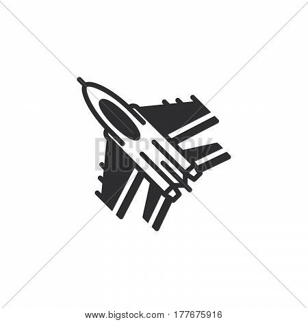Jet fighter aircraft icon vector filled flat sign solid pictogram isolated on white. Symbol logo illustration