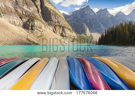 canoas at Moraine Lake Banff National Park West Canada