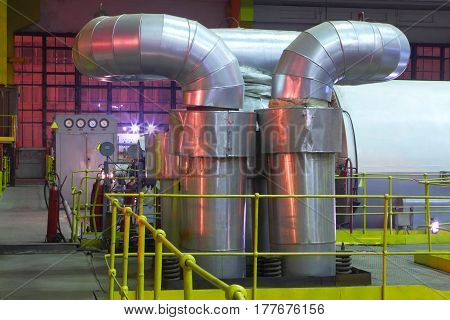 Chemical factory.The interior of the refinery.Technological equipment of the interior of industrial factory.