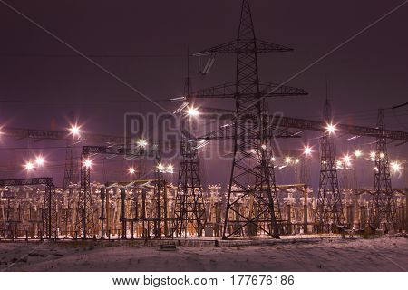 Electric substation at night.Industrial production and sale of electricity.