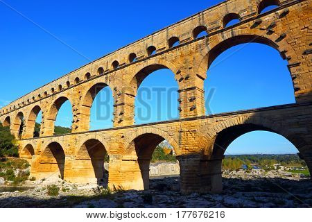 Ancient Roman Aqueduct, the Pont Du Gard, France.The building of the Roman Empire in France.