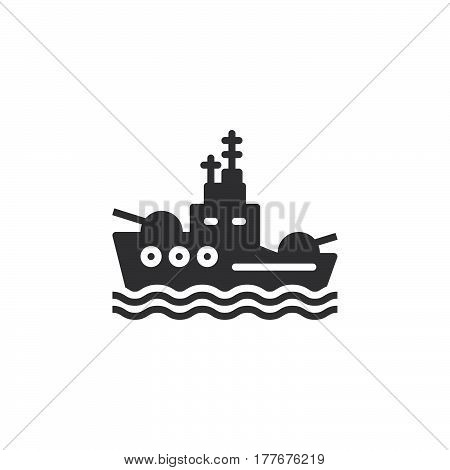 Battleship icon vector filled flat sign solid pictogram isolated on white. Symbol logo illustration