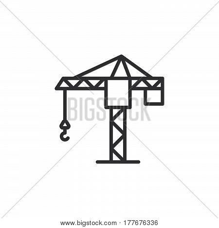 Tower crane line icon outline vector sign linear pictogram isolated on white. Symbol logo illustration
