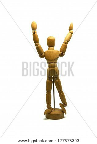 cheering wooden mannequin, puppet, isolated on white background