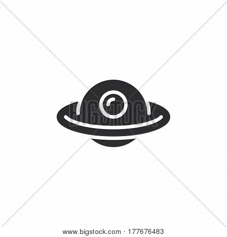 Unidentified flying object UFO icon vector filled flat sign solid pictogram isolated on white. Symbol logo illustration