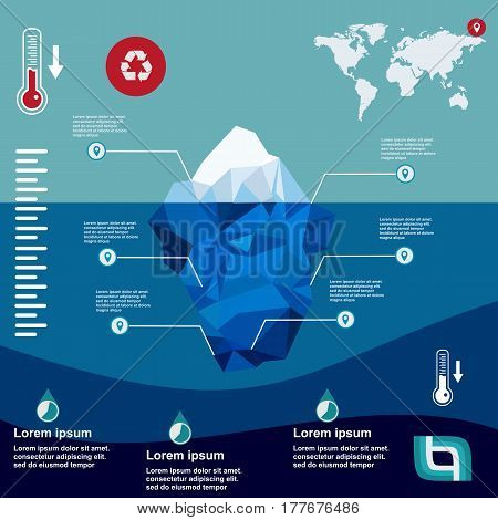 Iceberg Illustration In Flat Design