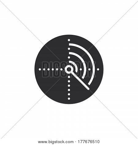 Radar icon vector filled flat sign solid pictogram isolated on white. Symbol logo illustration