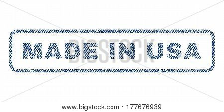 Made In USA text textile seal stamp watermark. Blue jeans fabric vectorized texture. Vector tag inside rounded rectangular shape. Rubber sign with fiber textile structure.