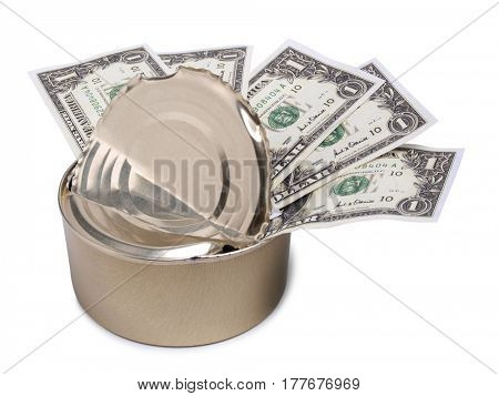 Several paper dollars in a tin can on a white background