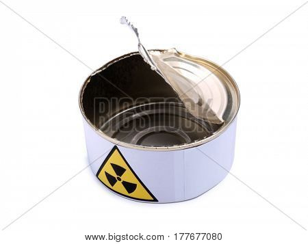 Tin with a radiation sign on white background