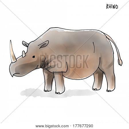 Rhino Watecolor Animal illustration set