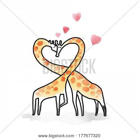 Giraffe Watecolor Animal illustration set