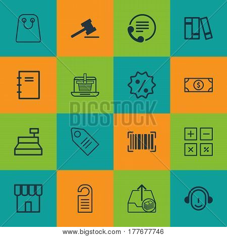 Set Of 16 E-Commerce Icons. Includes Outgoing Earnings, Spiral Notebook, Employee And Other Symbols. Beautiful Design Elements.