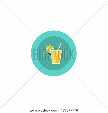 Icon cocktail in circle on flat design