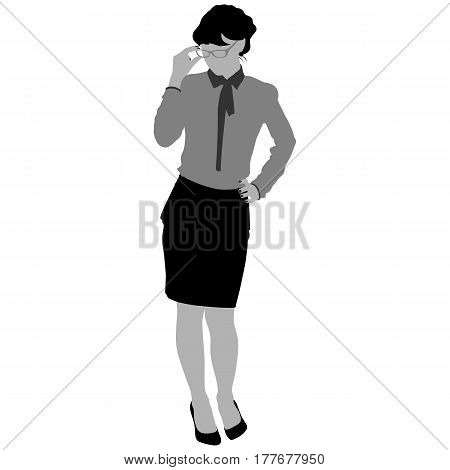 silhouette of the business woman on a white background for your design