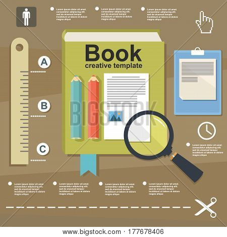 Illustration Book Infographic On Flat Design