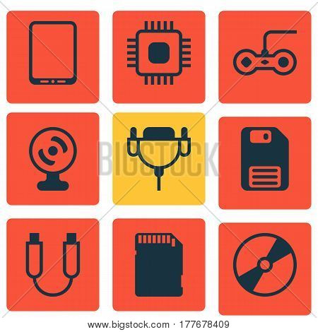 Set Of 9 Computer Hardware Icons. Includes Cd-Rom, Web Camera, Diskette And Other Symbols. Beautiful Design Elements.