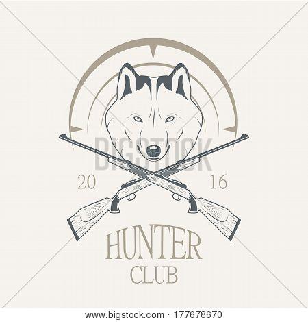Hunting Club logo - vector illustration. wolf logotype