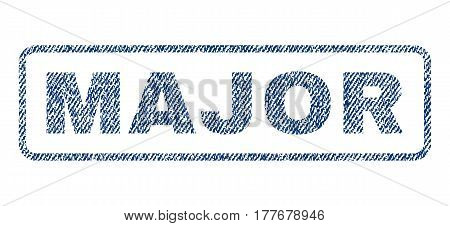Major text textile seal stamp watermark. Blue jeans fabric vectorized texture. Vector tag inside rounded rectangular banner. Rubber emblem with fiber textile structure.
