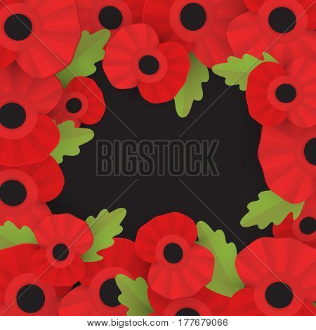 The remembrance poppy - poppy appeal. Decorative frame for Remembrance Day, Memorial Day, Armistice Day