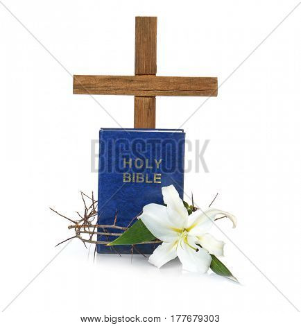Cross, Holy Bible, crown of thorns and Easter white lily on white background