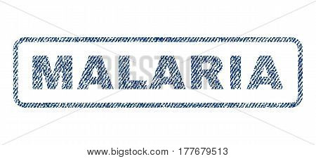 Malaria text textile seal stamp watermark. Blue jeans fabric vectorized texture. Vector tag inside rounded rectangular banner. Rubber sticker with fiber textile structure.