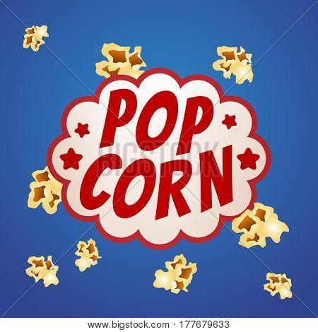 Pop corn sign logo vintage poster vector illustration