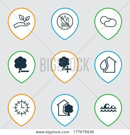 Set Of 9 Eco Icons. Includes Ocean Wave, Delete Woods, Insert Woods And Other Symbols. Beautiful Design Elements.