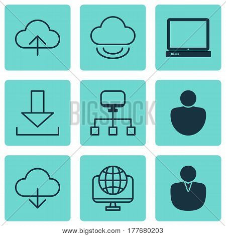 Set Of 9 World Wide Web Icons. Includes Local Connection, Save Data, Account And Other Symbols. Beautiful Design Elements.
