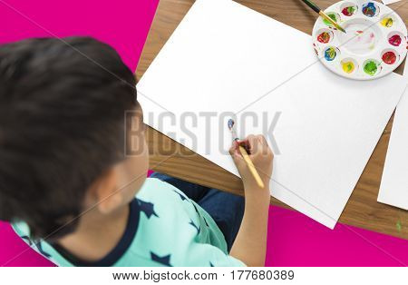 Little Boy Painting Paint Brush Shoot