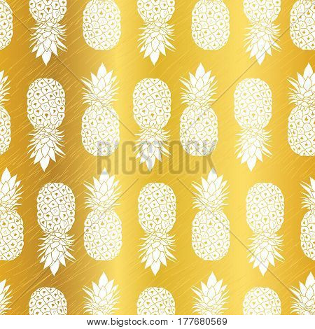 Vector Golden Yellow Pineapples Geometric Vector Repeat Seamless Pattrern in Gold Color. Great for fabric, packaging, wallpaper, invitations. Surface pattern design.