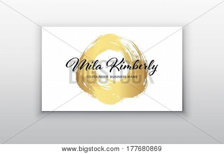 Vector gold business card templates with brush stroke background.Vector design concept. For stylist makeup artist photographer. Stylish elegant business cards template. Vector.