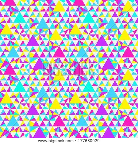 Abstract geometric pattern. Bright neon colors. Memphis style pattern. Seamless vector pattern. Vector illustration.