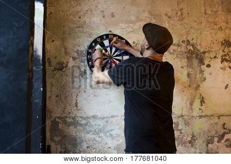 Man Dartboard Arrows Game Activity