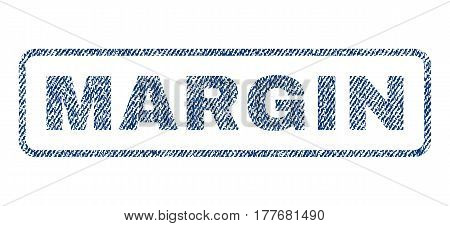 Margin text textile seal stamp watermark. Blue jeans fabric vectorized texture. Vector tag inside rounded rectangular shape. Rubber sticker with fiber textile structure.