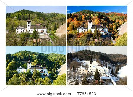 Four season folder in old mining village in Slovakia. Historic church in Spania Dolina. Spring, summer, autumn and winter landscape.