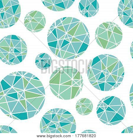 Vector Blue Green Geometric Mosaic Circles With Triangles Repeat Seamless Pattern Background. Can Be Used For Fabric, Wallpaper, Stationery, Packaging. Surface pattern design.