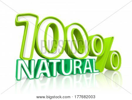 Natural Hundred Percent. 3D Illustration.