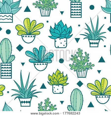Vector Blue Green Seamless Repeat Pattern With Growing Succulents and Cacti In Pots. Trendy tropical design for textile, fabric, packaging, backdrops, wallpaper. Surface pattern design.