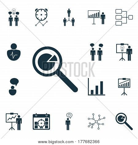Set Of 16 Executive Icons. Includes Co-Working, Reminder, Bar Chart And Other Symbols. Beautiful Design Elements.